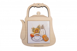 Ceramic wood trivet (Kettle)