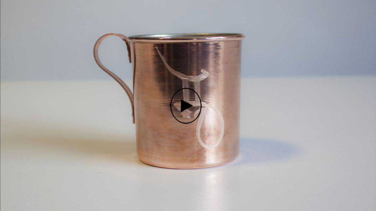 Engraving pattern on copper cup