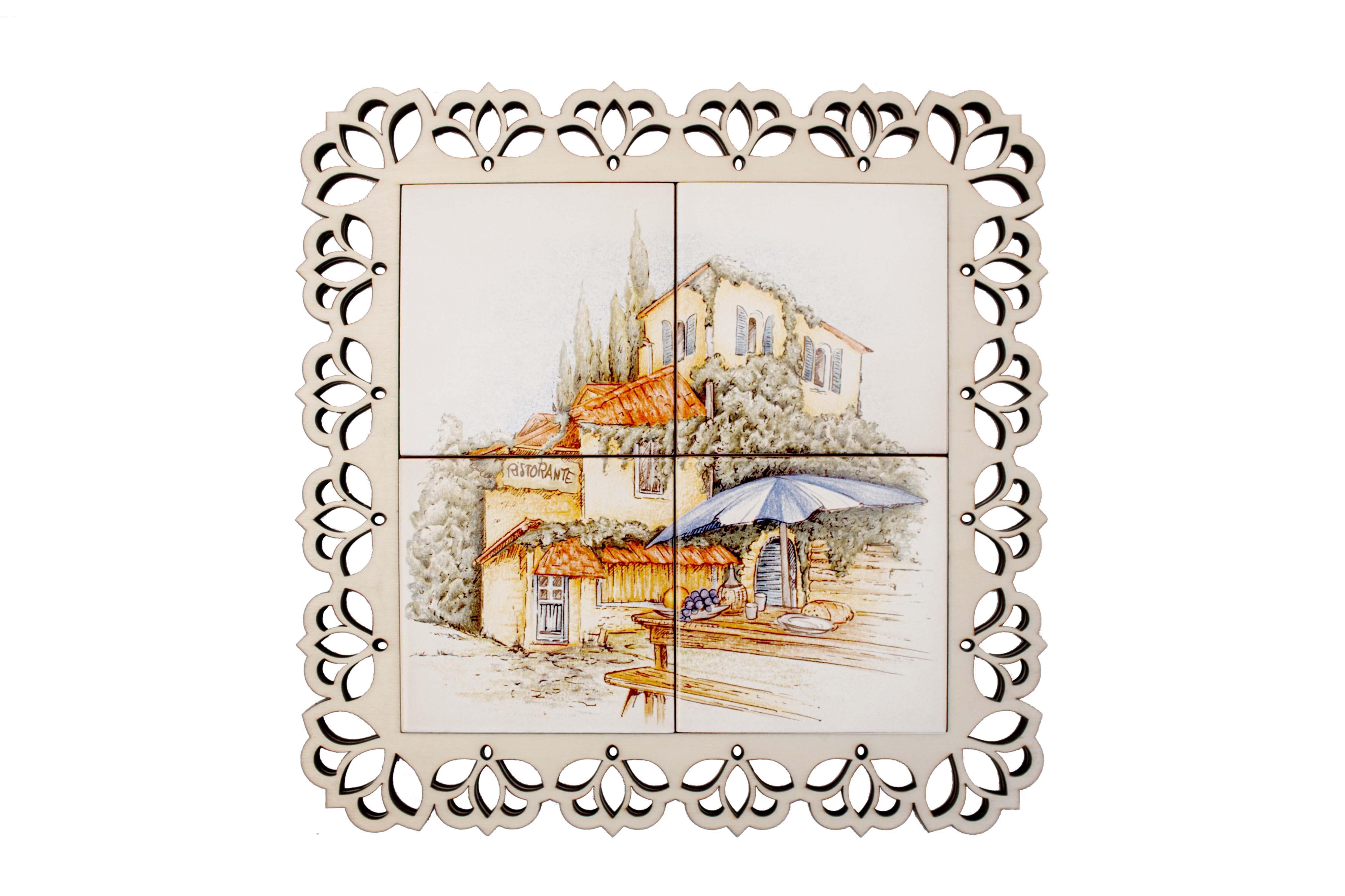 Ceramic wood trivet (4 tiles)