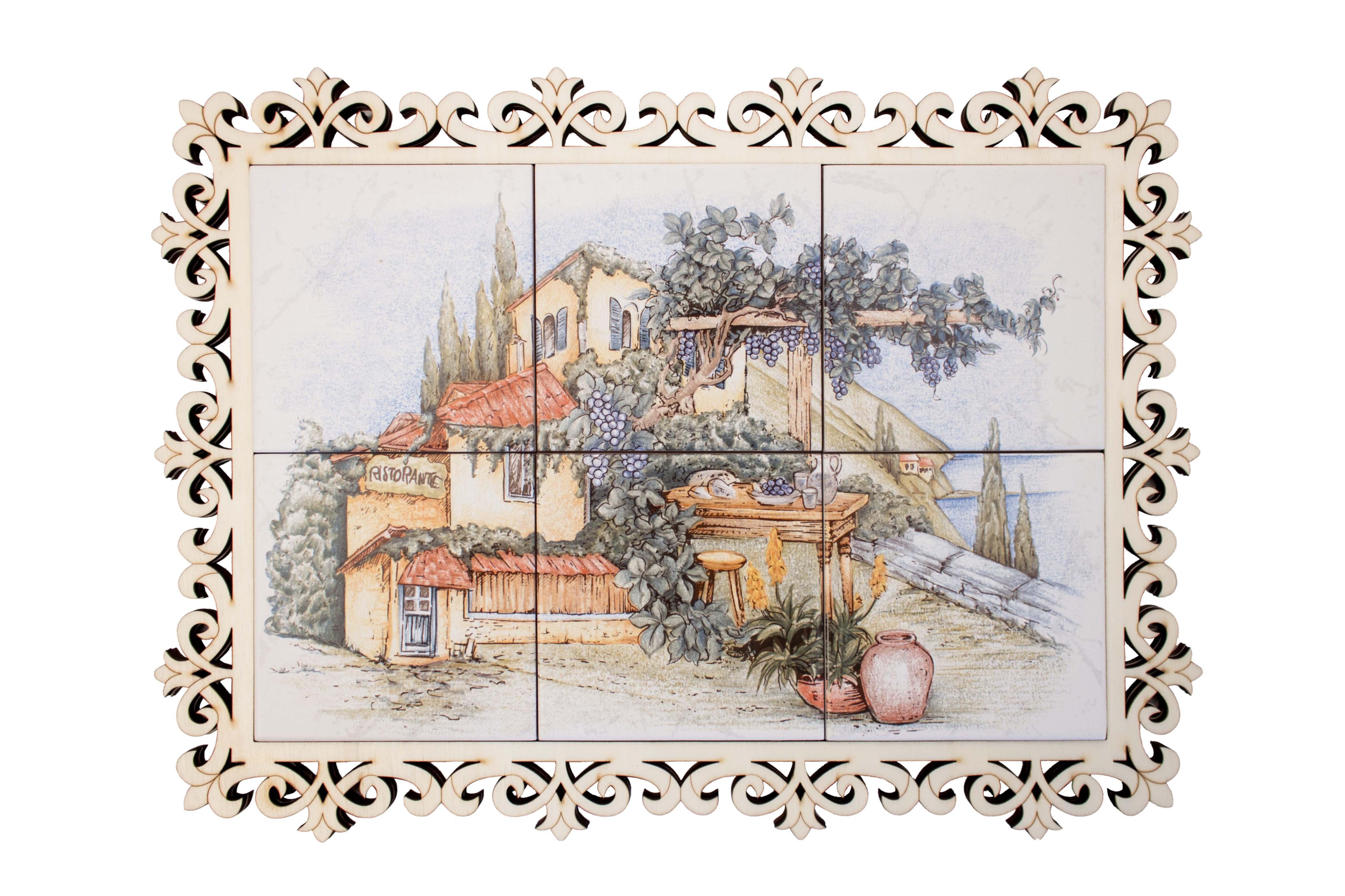Ceramic wood trivet (6 tiles)