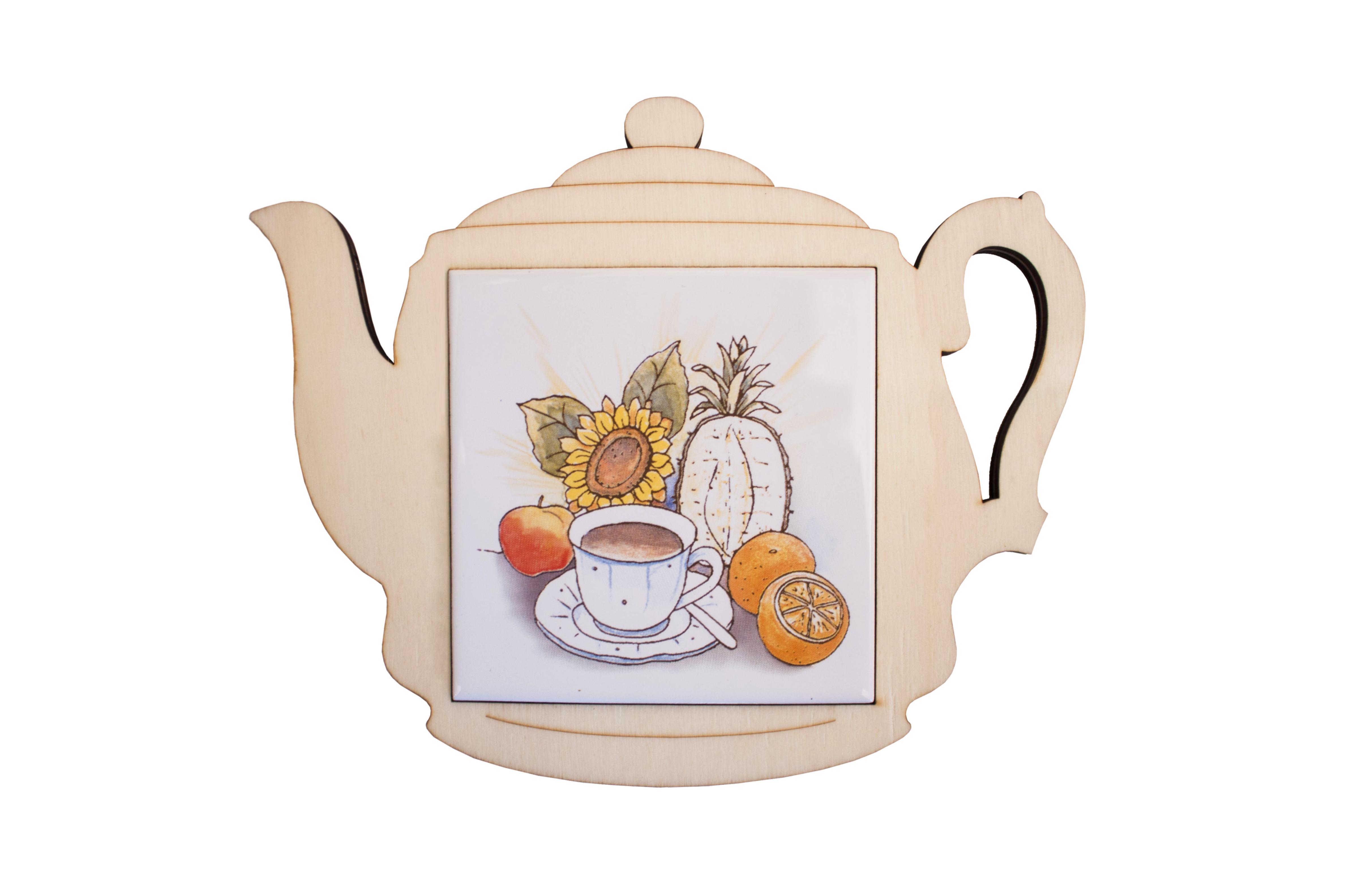 Ceramic wood trivet (Teapot)